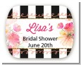 Black And White Stripe Floral Watercolor - Personalized Bridal Shower Rounded Corner Stickers thumbnail