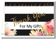 Black And White Stripe Floral Watercolor - Bridal Shower Thank You Cards thumbnail