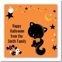 Black Cat - Personalized Halloween Card Stock Favor Tags