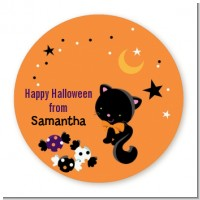 Black Cat - Round Personalized Halloween Sticker Labels