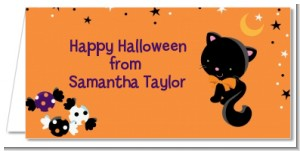 Black Cat - Personalized Halloween Place Cards
