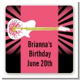Rock Star Guitar Pink - Square Personalized Birthday Party Sticker Labels thumbnail