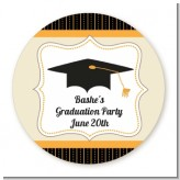 Black & Gold - Round Personalized Graduation Party Sticker Labels