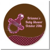 Baby Bling Pink Pacifier - Round Personalized Baby Shower Sticker Labels