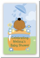 Blooming Baby Boy African American - Custom Large Rectangle Baby Shower Sticker/Labels