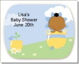 Blooming Baby Boy African American - Personalized Baby Shower Rounded Corner Stickers