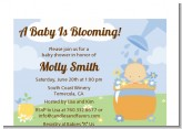 Blooming Baby Boy Caucasian - Baby Shower Petite Invitations