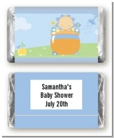 Blooming Baby Boy Caucasian - Personalized Baby Shower Mini Candy Bar Wrappers
