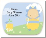 Blooming Baby Boy Caucasian - Personalized Baby Shower Rounded Corner Stickers