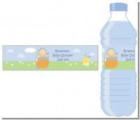 Blooming Baby Boy Caucasian - Personalized Baby Shower Water Bottle Labels
