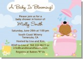 Blooming Baby Girl African American - Baby Shower Invitations