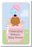 Blooming Baby Girl African American - Custom Large Rectangle Baby Shower Sticker/Labels