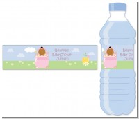 Blooming Baby Girl African American - Personalized Baby Shower Water Bottle Labels