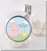 Blooming Baby Girl Caucasian - Personalized Baby Shower Candy Jar