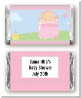 Blooming Baby Girl Caucasian - Personalized Baby Shower Mini Candy Bar Wrappers