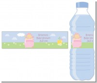 Blooming Baby Girl Caucasian - Personalized Baby Shower Water Bottle Labels
