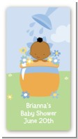 Blooming Baby Boy African American - Custom Rectangle Baby Shower Sticker/Labels
