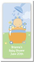 Blooming Baby Boy Caucasian - Custom Rectangle Baby Shower Sticker/Labels