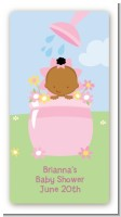 Blooming Baby Girl African American - Custom Rectangle Baby Shower Sticker/Labels