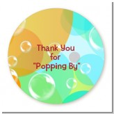 Blowing Bubbles - Round Personalized Birthday Party Sticker Labels