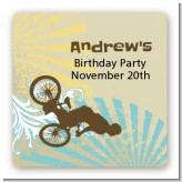 BMX Rider - Square Personalized Birthday Party Sticker Labels
