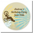 BMX Rider - Round Personalized Birthday Party Sticker Labels thumbnail