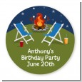 Bonfire - Round Personalized Birthday Party Sticker Labels thumbnail