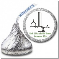 Boston Skyline - Hershey Kiss Bridal Shower Sticker Labels