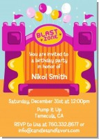 Bounce House Purple and Orange - Birthday Party Invitations
