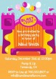 Bounce House Purple and Orange - Birthday Party Invitations thumbnail