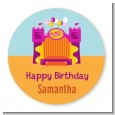 Bounce House Purple and Orange - Round Personalized Birthday Party Sticker Labels thumbnail