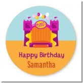 Bounce House Purple and Orange - Round Personalized Birthday Party Sticker Labels