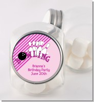 Bowling Girl - Personalized Birthday Party Candy Jar