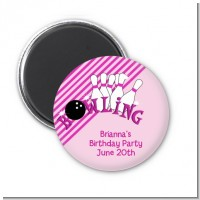 Bowling Girl - Personalized Birthday Party Magnet Favors