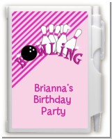 Bowling Girl - Birthday Party Personalized Notebook Favor