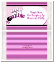 Bowling Girl - Personalized Popcorn Wrapper Birthday Party Favors