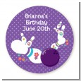 Bowling Party - Round Personalized Birthday Party Sticker Labels thumbnail
