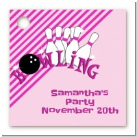 Bowling Girl - Personalized Birthday Party Card Stock Favor Tags