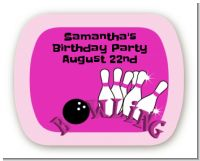 Bowling Girl - Personalized Birthday Party Rounded Corner Stickers