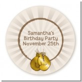 Boxing Gloves - Round Personalized Birthday Party Sticker Labels
