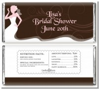 Bridal Silhouette Floral Pink - Personalized Bridal Shower Candy Bar Wrappers
