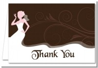 Bridal Silhouette Floral Pink - Bridal Shower Thank You Cards