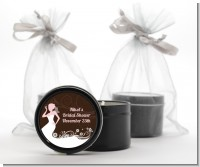 Bridal Silhouette Floral Pink - Bridal Shower Black Candle Tin Favors