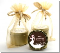 Bridal Silhouette Floral Pink - Bridal Shower Gold Tin Candle Favors