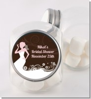 Bridal Silhouette Floral Pink - Personalized Bridal Shower Candy Jar