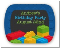 Building Blocks - Personalized Birthday Party Rounded Corner Stickers