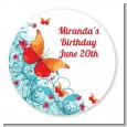 Butterfly Wishes - Round Personalized Birthday Party Sticker Labels thumbnail