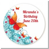 Butterfly Wishes - Round Personalized Birthday Party Sticker Labels