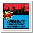Calling All Superheroes - Square Personalized Birthday Party Sticker Labels thumbnail