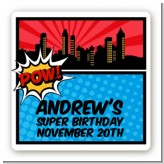 Calling All Superheroes - Square Personalized Birthday Party Sticker Labels